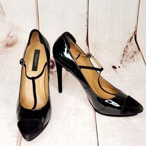 ANN TAYLOR Black T-Strap Patent Leather Heels 9M